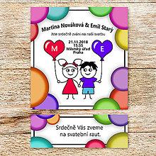 Papiernictvo - Svadobné oznámenie a pozvánka na svadobný raut - panáčikovia s balónikmi (bublinová) - 10135061_