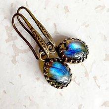 Náušnice - Vintage Bronze Natural Labradorite Earrings / Vintage sada šperkov s labradoritom v bronzovom prevedení /1165 - 10137780_