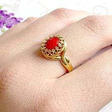 Prstene - Red Coral & Golden Filigree Ring / Filigránový prsteň s koralom v zlatom prevedení #1167 - 10139269_