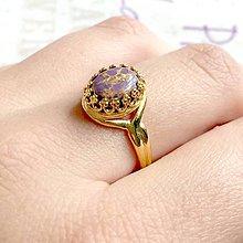 Prstene - Violet Tyrkenite & Golden Filigree Ring / Filigránový prsteň s fial. tyrkenitom v zlatom prevedení /1169 - 10141855_