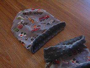 Detské čiapky - Obojstranný zimný set - 10141987_