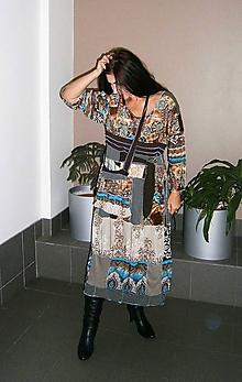 Šaty - lel,boho hnedotyrkys-maxišaty+ kapsa - 10141543_