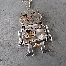 Náhrdelníky - Robot - chlap.....Steampunkový náhrdelník, Android - 10140605_
