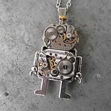 Náhrdelníky - Robot s anténkou, Steampunkový náhrdelník, Android - 10140747_