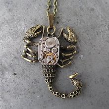Náhrdelníky - ŠTÍR s hodinkovým strojkem,steampunkový náhrdelník - 10140795_