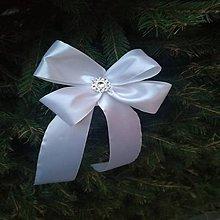 Dekorácie - mašle na vianočný stromček (Strieborná) - 10139806_