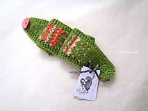 Čiapky - Čelenka ku rukaviciam zeleno-marhuľová - 10141768_
