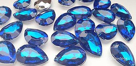 Galantéria - Ozdobné kamienky našívacie 13 x 18 mm - Kráľovská modrá - 10140071_