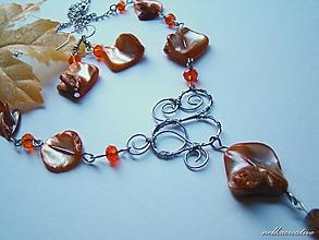 Sady šperkov - Pomarančové... /farbená perleť/ - 10139657_