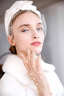 Ozdoby do vlasov - Svadobná čelenka s francúzskym závojom IVORY - 10141669_