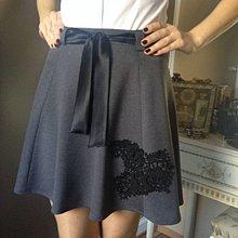 Sukne - Polkruhová sukňa z troch dielov s krajkou ŠEDÁ - 10142429_