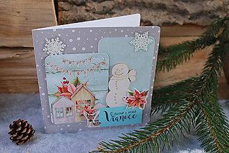 Papiernictvo - snehuliak_ vianočná pohľadnica - 10137066_