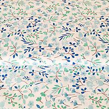 Textil - modré kvetinky, 100 % bavlna, šírka 140 cm - 10139580_