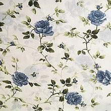 Textil - modré ruže, 100 % bavlna, šírka 140 cm - 10139626_