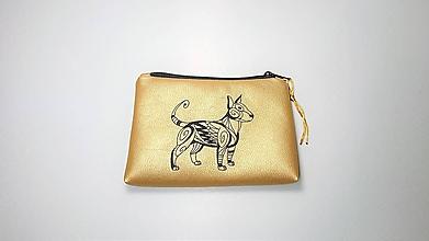 Taštičky - Zlatá taštička vyšívaná bulteriér - 10141367_