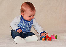 Detské oblečenie - Detské body s ľudovým motívom MYJAVA dlhý rukáv - 10141719_