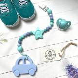 Detské doplnky - Silikónová retiazka s hryzátkom - autíčko SKY BLUE (Silikónová retiazka s hryzátkom v tvare autíčka) - 10142695_