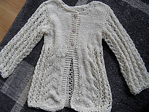 Detské oblečenie - ľahučký svetríček krémový - 10140023_