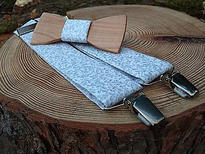Doplnky - Pánsky drevený motýlik a traky - 10138164_
