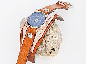 Náramky - Dámske bielo hnedý remienok s hodinkami - 10140642_