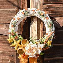 Dekorácie - Zimný venček na dvere s ružou - 10138294_