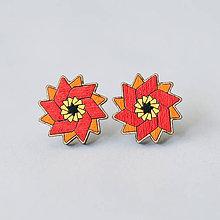 Náušnice - mandalky ~ napichovačky (vrtuľka červeno-oranžová) - 10141201_