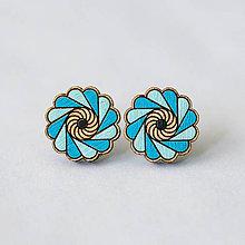 Náušnice - mandalky ~ napichovačky (kvetinka tyrkysová) - 10141210_