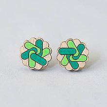 Náušnice - mandalky ~ napichovačky (kvetinka zelenkavá) - 10141238_