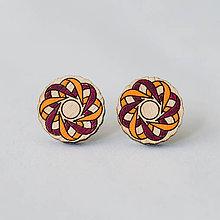 Náušnice - mandalky ~ napichovačky (kvetinka stuhová bordó-oranžová) - 10141249_