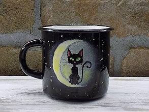 Nádoby - Smaltovaný hrnček - Cat on the Moon - 10141733_