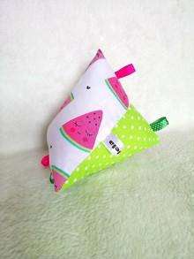 Hračky - Montessori hracie vrecúško s hrkálkou melón a bodky - 10137943_