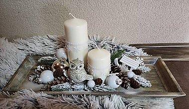 Dekorácie - Vianočný svietnik na dreve - 10142060_