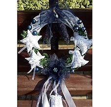Dekorácie - Vianočný veniec modrý - 10139421_