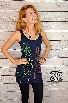 Šaty - Rainbow flowers -maľované mini šaty - 10140028_
