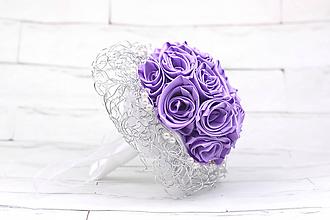 Kytice pre nevestu - Saténová kytica svadobná fialová ruže - 10138288_