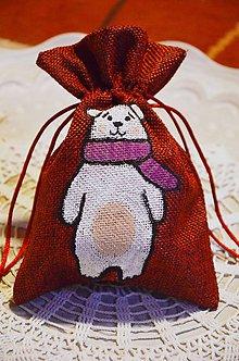 Nezaradené - Vianočné vrecko s obrázkom (Vrecko s ľadovým medveďom) - 10142380_