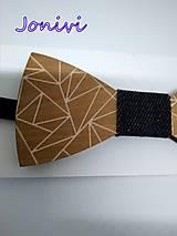 Doplnky - Pánsky drevený motýlik - jeans - rifľový II. - 10142265_
