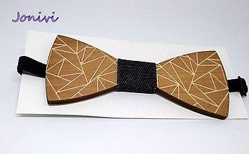 Doplnky - Pánsky drevený motýlik - jeans - rifľový II. - 10142259_