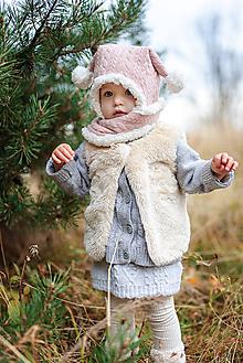 Detské čiapky - Zimný set Vrkoče s dvoma bambulkami - 10140559_