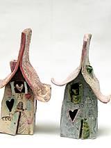 Svietidlá a sviečky - Dom svietnik staro ružový - 10139325_