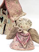 Svietidlá a sviečky - Dom svietnik staro ružový - 10139334_