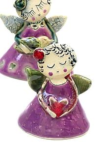 Dekorácie - Anjel  malý fialový - 10139276_
