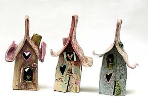 Svietidlá a sviečky - Dom svietnik staro ružový - 10139327_