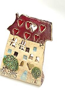 Svietidlá a sviečky - dom svietnik (Červená) - 10139706_