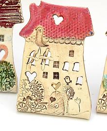 Svietidlá a sviečky - dom svietnik (Ružová) - 10139709_