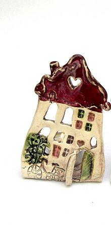 Svietidlá a sviečky - dom svietnik (Červená) - 10139712_