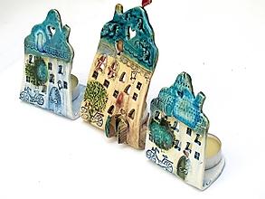 Svietidlá a sviečky - Dom svietnik  tyrkysový - 10139725_