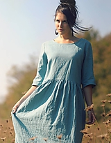 Šaty - Tyrkysově modré šaty lněné - 10137523_