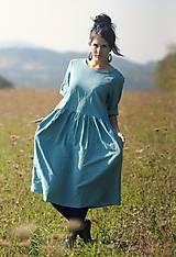 Šaty - Tyrkysově modré šaty lněné - 10137524_