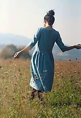 Šaty - Tyrkysově modré šaty lněné - 10137530_